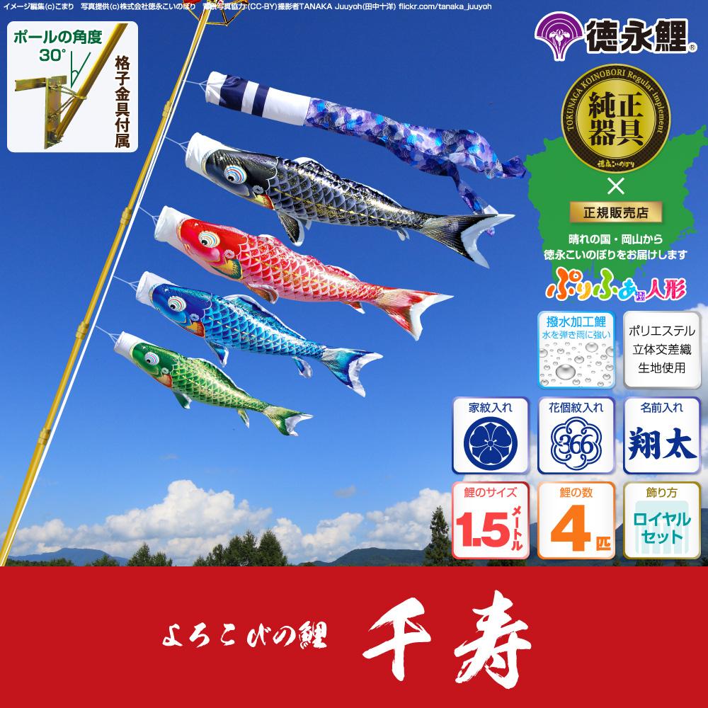 【ベランダ用 こいのぼり】 鯉のぼり よろこびの鯉 千寿 1.5m 7点セット(吹流し+鯉4匹+矢車+ロープ) 格子金具付属 ベランダ ロイヤルセット