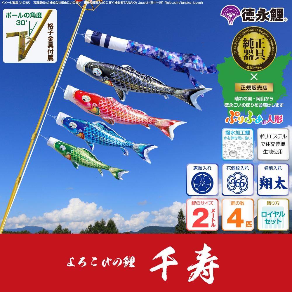 【ベランダ用 こいのぼり】 鯉のぼり よろこびの鯉 千寿 2m 7点セット(吹流し+鯉4匹+矢車+ロープ) 格子金具付属 ベランダ ロイヤルセット