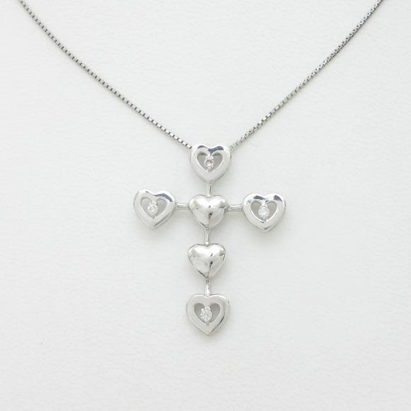 K18WG ハート×クロス ダイヤモンドネックレス【中古】 【店頭受取対応商品】