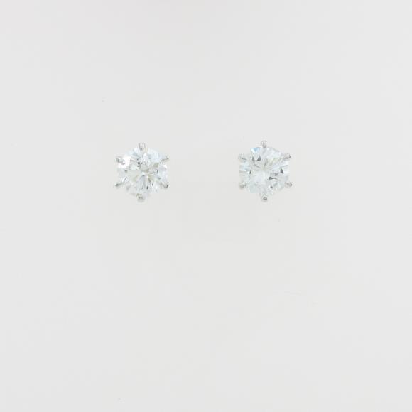 ST/プラチナダイヤモンドピアス 1.009ct・1.031ct・F・SI1・G【中古】 【店頭受取対応商品】