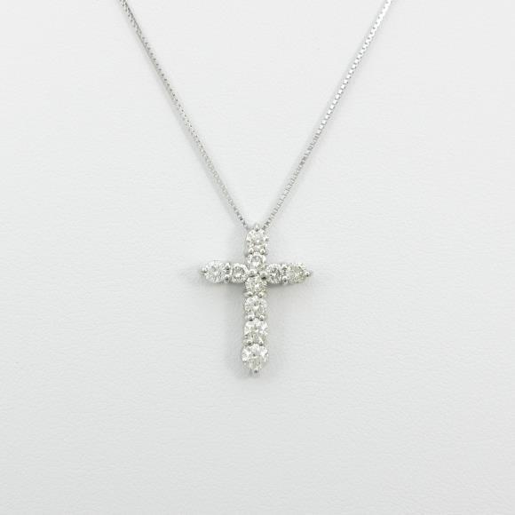 PT/K18WG クロス ダイヤモンドネックレス【中古】 【店頭受取対応商品】