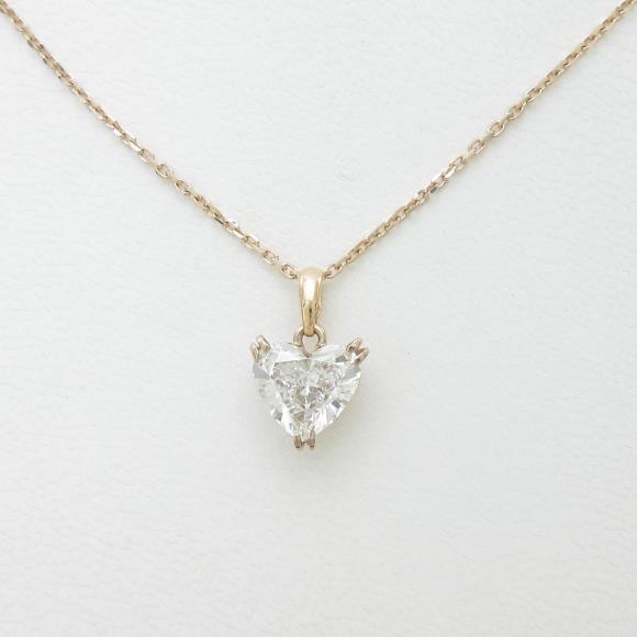 K18PG ダイヤモンドネックレス 1.564ct・E・SI1・ハートシェイプ【中古】 【店頭受取対応商品】