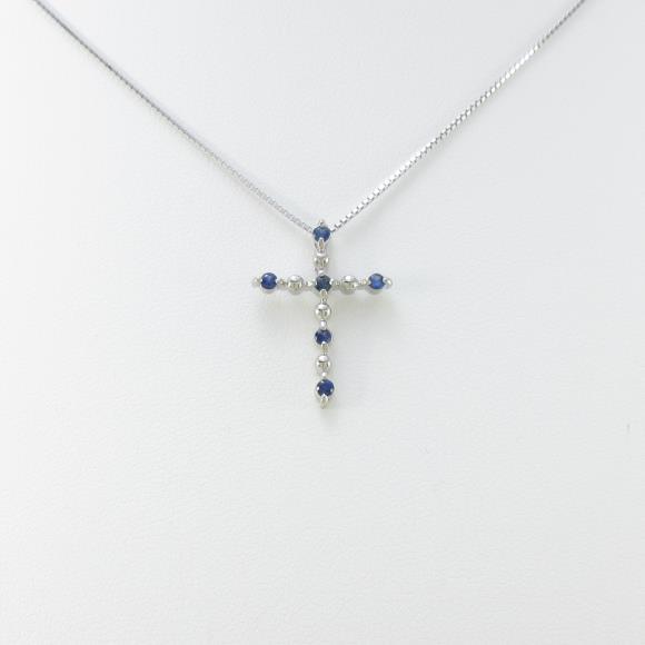 PT/K18WG クロス サファイヤネックレス【中古】 【店頭受取対応商品】