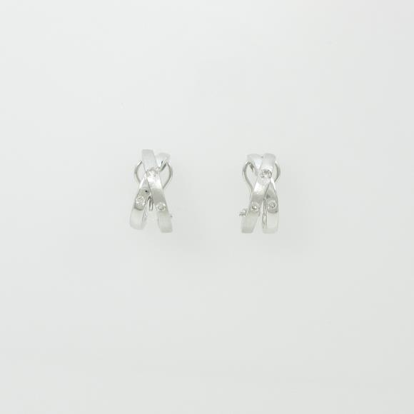 PT/K18WG ダイヤモンドピアスイヤリング【中古】 【店頭受取対応商品】