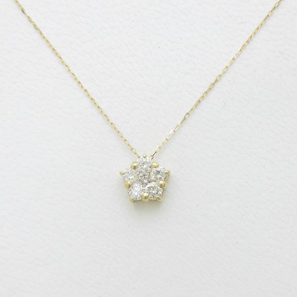 【新品】K18YG フラワー ダイヤモンドネックレス【新品】 【店頭受取対応商品】