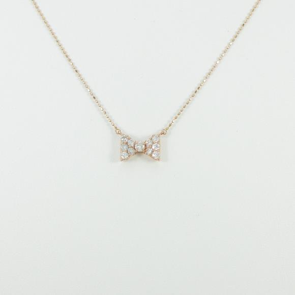 K14PG リボン ダイヤモンドネックレス【中古】 【店頭受取対応商品】