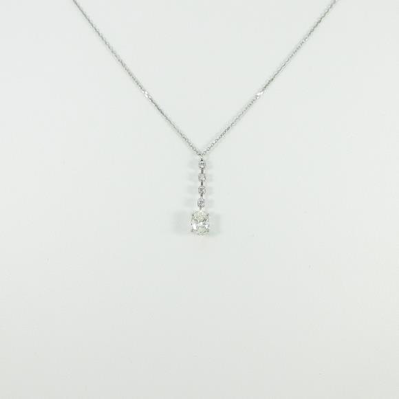 プラチナダイヤモンドネックレス 0.568ct・K・SI2・オーバルカット【中古】 【店頭受取対応商品】