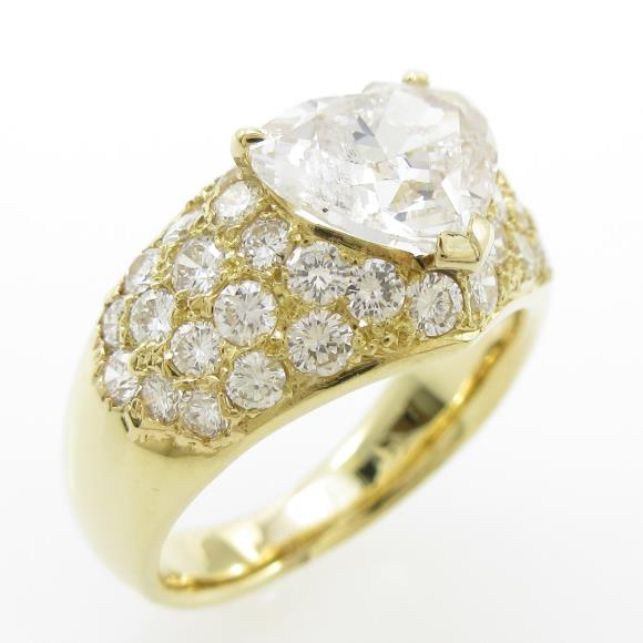 K18YG ダイヤモンドリング 2.158ct・J・I1・ハートシェイプ【中古】 【店頭受取対応商品】