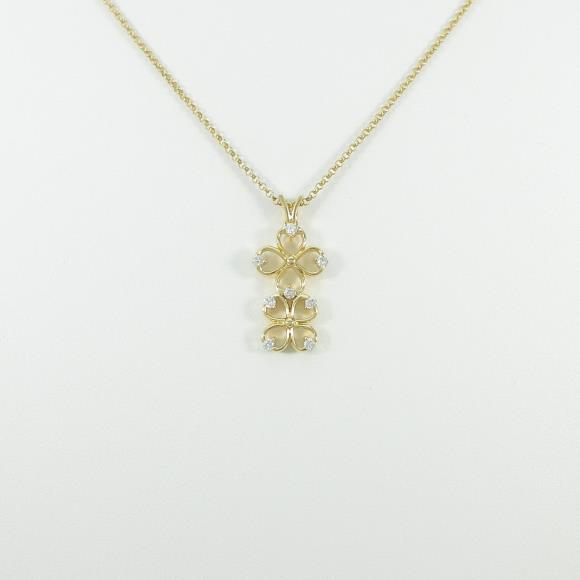 K18YG クローバー ダイヤモンドネックレス【中古】 【店頭受取対応商品】