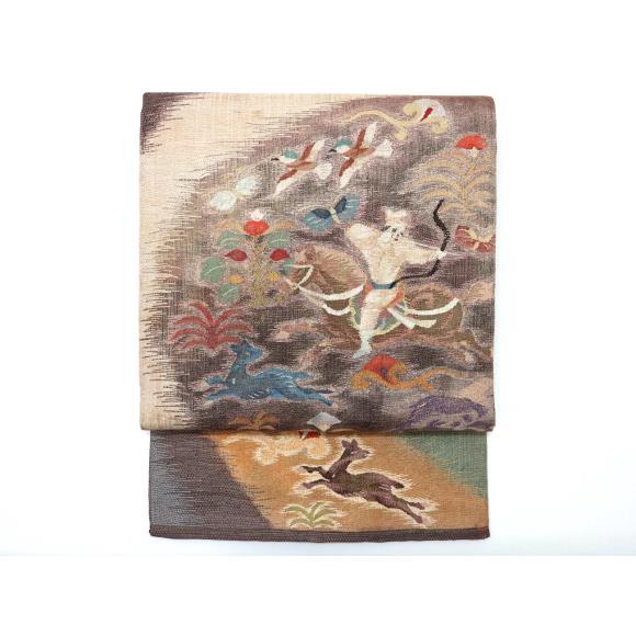 袋帯紬すくい織【中古】