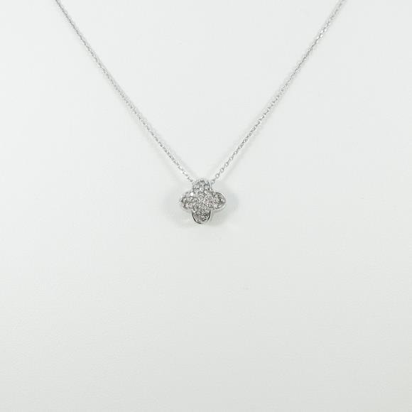 K18WG フラワー パヴェ ダイヤモンドネックレス【中古】 【店頭受取対応商品】