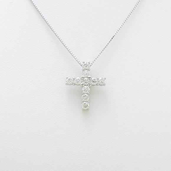 18KWG/K18WG クロス ダイヤモンドネックレス【中古】 【店頭受取対応商品】