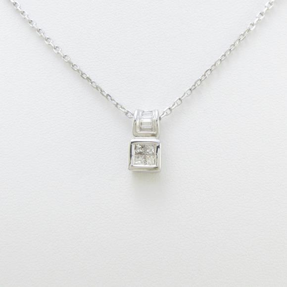 K18WG/PM ダイヤモンドネックレス【中古】 【店頭受取対応商品】