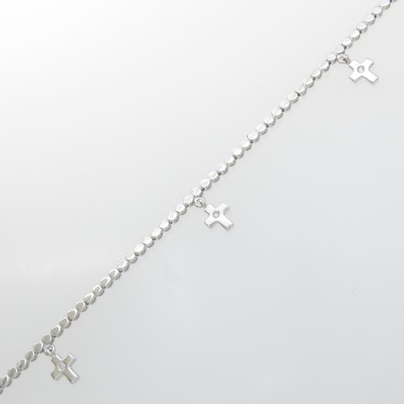 K18WG クロス ダイヤモンドブレスレット【中古】 【店頭受取対応商品】