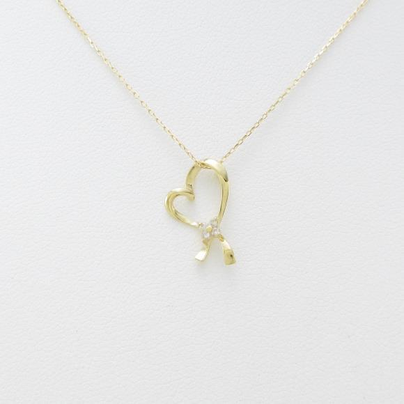 【新品】K18YG ハート ダイヤモンドネックレス【新品】 【店頭受取対応商品】