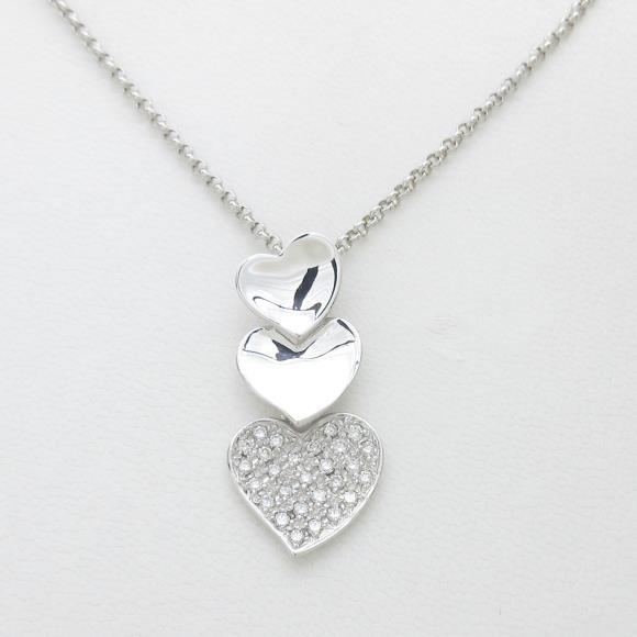 K18WG パヴェ ハート ダイヤモンドネックレス【中古】 【店頭受取対応商品】