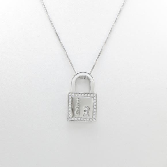 750WG キー ダイヤモンドネックレス【中古】 【店頭受取対応商品】