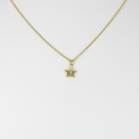 K18YG スター ホワイトサファイヤネックレス【中古】 【店頭受取対応商品】