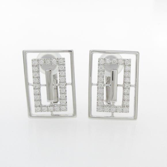 750WG/K14WG ダイヤモンドイヤリング【中古】 【店頭受取対応商品】