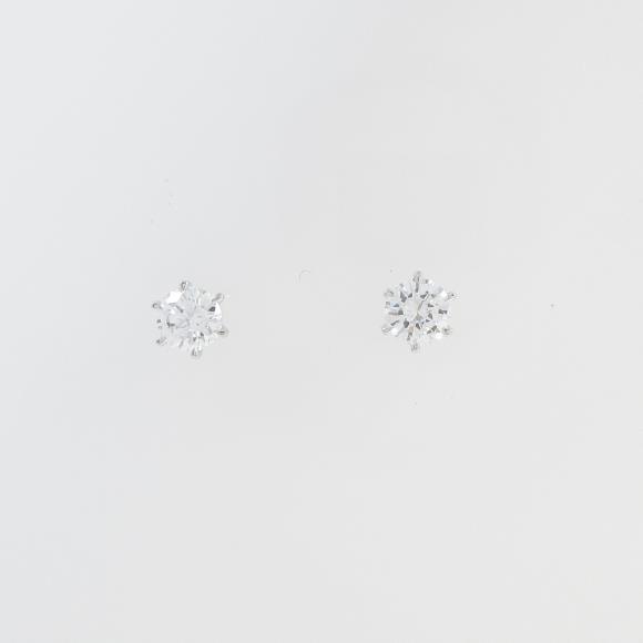 ST/プラチナダイヤモンドピアス 0.328ct・0.343ct・E・SI1・VG-G【中古】 【店頭受取対応商品】