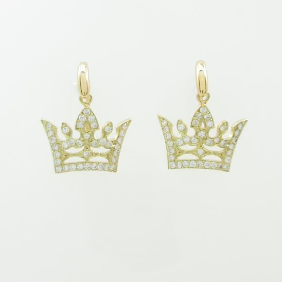 K18YG クラウン ダイヤモンドピアス【中古】 【店頭受取対応商品】
