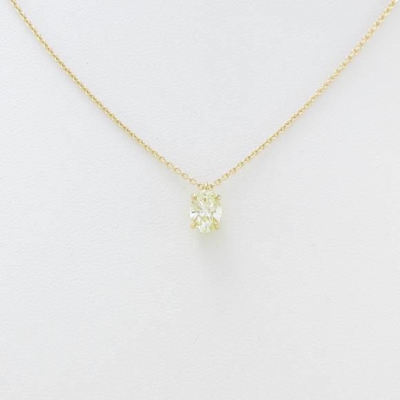 K18YG ダイヤモンドネックレス 0.467ct・LY・VS1・オーバルカット【中古】 【店頭受取対応商品】