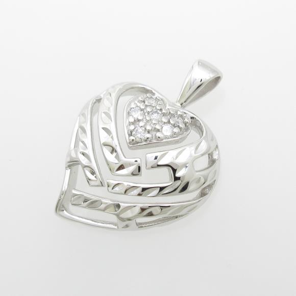 14KWG ハート ダイヤモンドペンダント【中古】 【店頭受取対応商品】