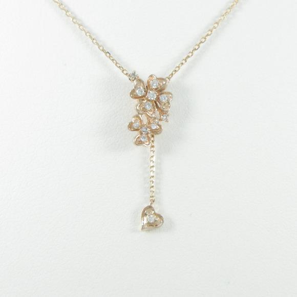 K18PG クローバー×ハート ダイヤモンドネックレス【中古】 【店頭受取対応商品】