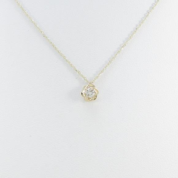 K10YG フラワー ダイヤモンドネックレス【中古】 【店頭受取対応商品】