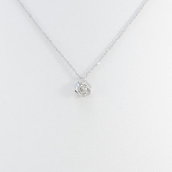 K10WG フラワー ダイヤモンドネックレス【中古】 【店頭受取対応商品】