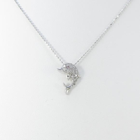 K18WG イルカ ダイヤモンドネックレス【中古】 【店頭受取対応商品】