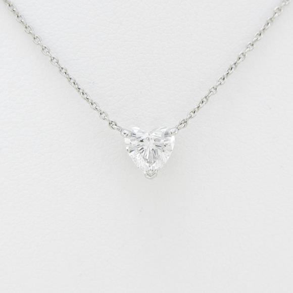 プラチナダイヤモンドネックレス 0.734ct・F・SI1・ハートシェイプ【中古】 【店頭受取対応商品】