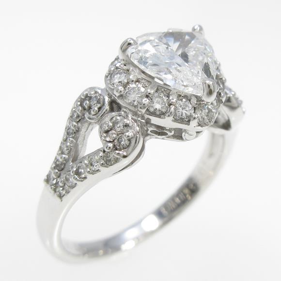 K18WG ダイヤモンドリング 1.023ct・E・SI2・ハートシェイプ【中古】 【店頭受取対応商品】