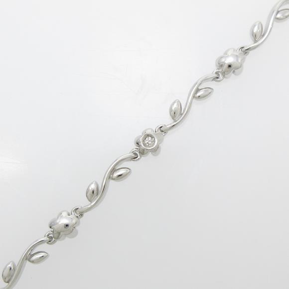 750WG フラワー ダイヤモンドブレスレット【中古】 【店頭受取対応商品】