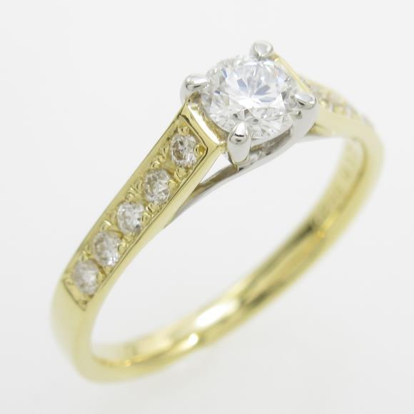 K18YG/PT ダイヤモンドリング 0.255ct・D・VVS1・3EXT H&C【中古】 【店頭受取対応商品】