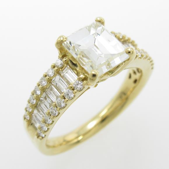 【リメイク】K18YG ダイヤモンドリング 1.314ct・K・SI1・エメラルドカット【中古】 【店頭受取対応商品】