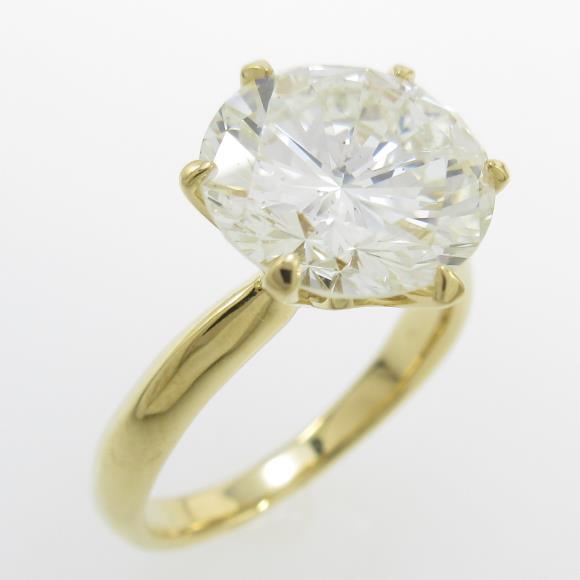 【リメイク】K18YG ダイヤモンドリング 3.826ct・L・SI2・GOOD【中古】 【店頭受取対応商品】