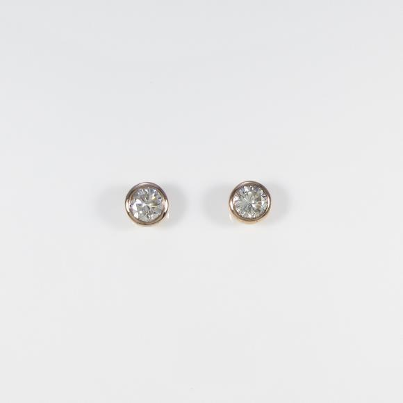 【リメイク】K18PG/ST ダイヤモンドピアス 0.401ct・0.424ct・J-K・I1・G【中古】 【店頭受取対応商品】