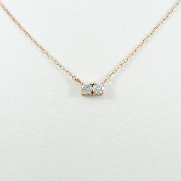 【リメイク】K18PG ダイヤモンドネックレス【中古】 【店頭受取対応商品】