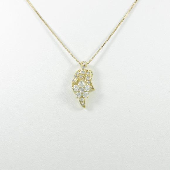K18YG フラワー ダイヤモンドネックレス【中古】 【店頭受取対応商品】