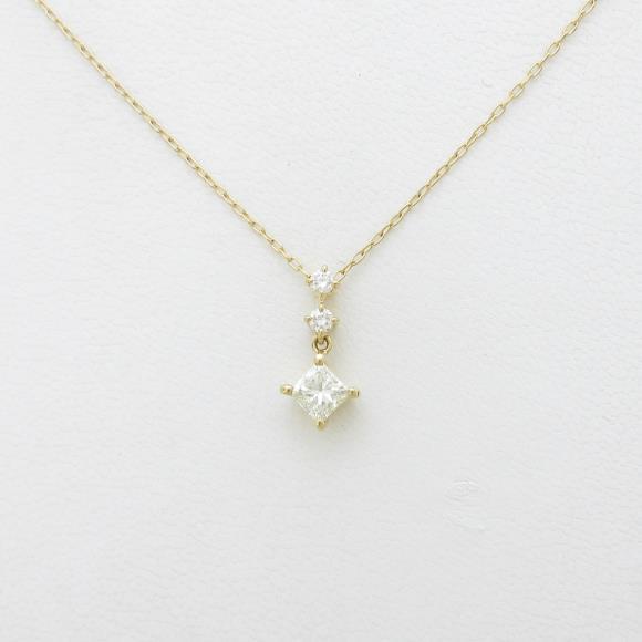 K18YG ダイヤモンドネックレス 0.532ct・M・VVS1・プリンセスカット【中古】 【店頭受取対応商品】