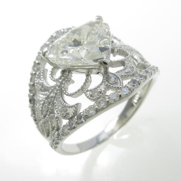 プラチナダイヤモンドリング 2.066ct・I・SI2・ハートシェイプ【中古】 【店頭受取対応商品】