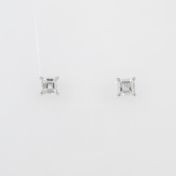 【リメイク】プラチナダイヤモンドピアス 0.220ct・0.232ct・G・SI1-2・ステップカット【中古】 【店頭受取対応商品】
