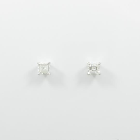 【リメイク】プラチナダイヤモンドピアス 0.375ct・E・VS1-2・ステップカット【中古】 【店頭受取対応商品】