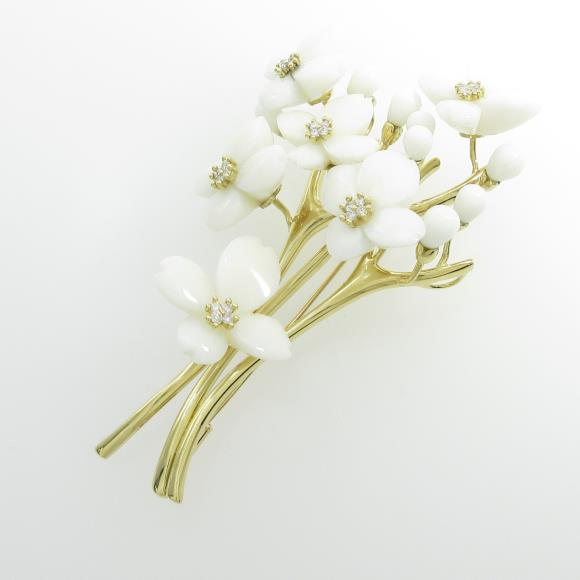 K18YG フラワー サンゴブローチ【中古】 【店頭受取対応商品】