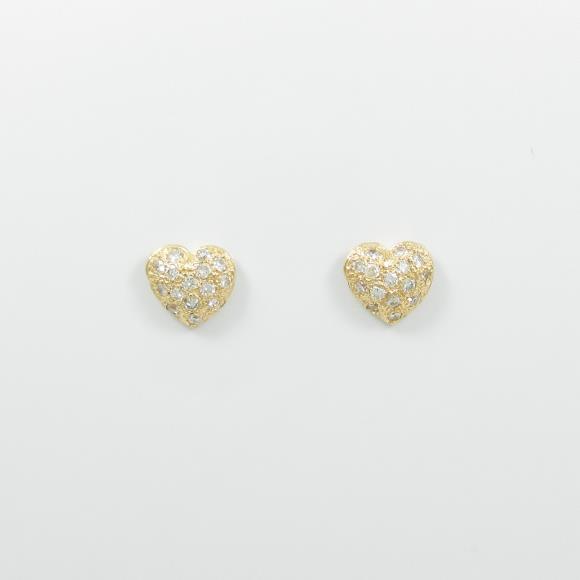 750YG/K18YG ハート ダイヤモンドピアス【中古】 【店頭受取対応商品】