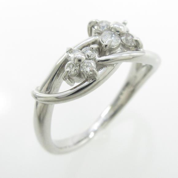 K18WG フラワー ダイヤモンドリング【中古】 【店頭受取対応商品】