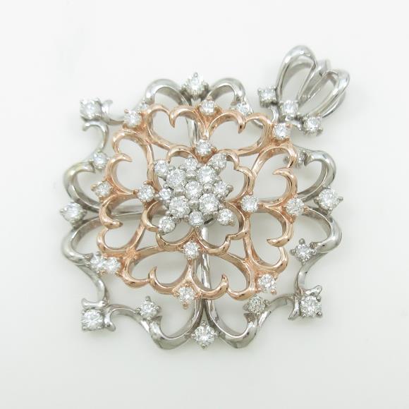 K18WG/K18PG ダイヤモンドペンダント【中古】 【店頭受取対応商品】