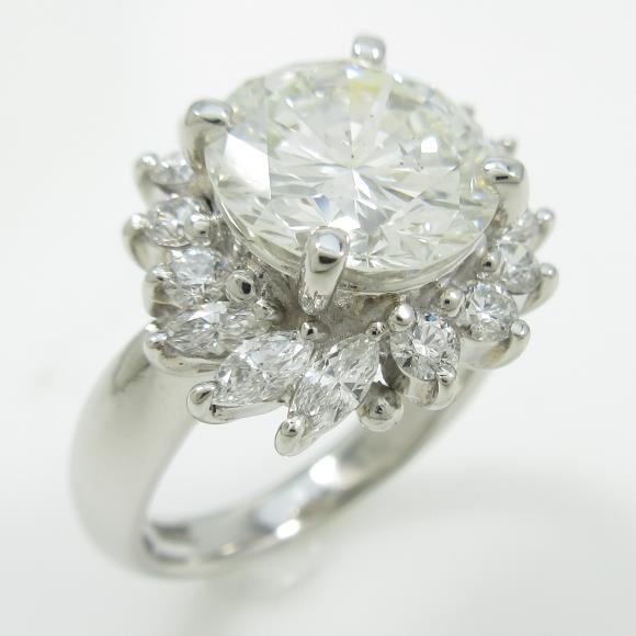 プラチナダイヤモンドリング 3.131ct・J・SI2・GOOD【中古】 【店頭受取対応商品】
