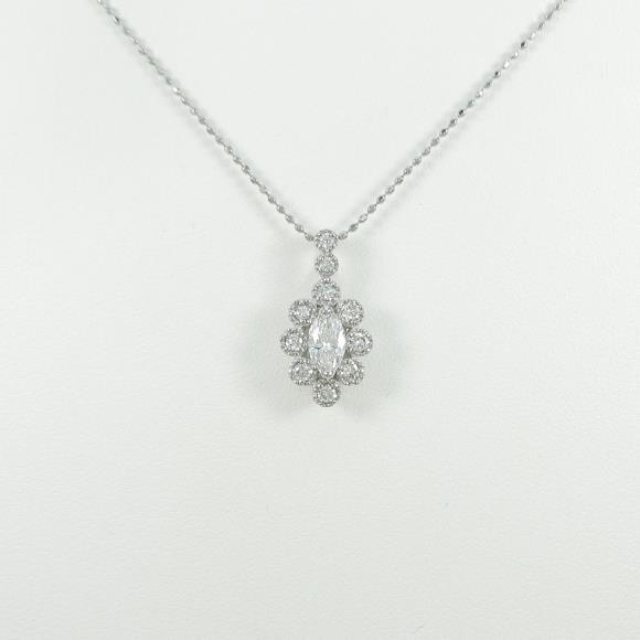 K18WG ダイヤモンドネックレス 0.300ct・E・SI2・マーキスカット【中古】 【店頭受取対応商品】